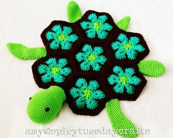 Crochet Pattern - African Sea Turtle Blanket Buddy