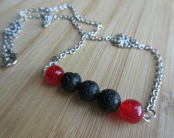 Necklace. Beaded. Chain. Natural Gemstones. Essential oil diffuser necklace. Lava rock. Aromatherapy. Red jade. Minimalist.