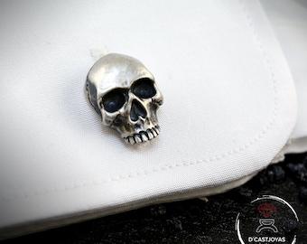 Solid Silver Cufflinks Skulls, Men's Silver Cufflinks, Skull Cufflinks, Badass Jewelry, Gothic Jewelry, Biker jewelry