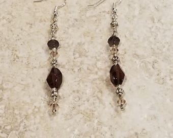 Purple Glass Bead Dangle Earrings With Pink Swarovski Crystals And Silver Accents