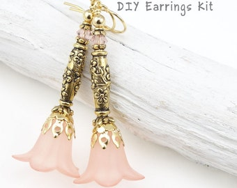 DIY Jewelry Kit Pink and Gold Flower Earring Kit Do It Yourself Jewelry Project Lucite Flower Earrings Pink Jewelry Gold Earrings