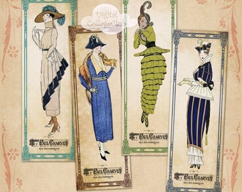 80% Off Spring Sale Vintage Lady Woman Fashion Digital Collage Sheet Digital Bookmark, Bckground, Tags, Labels, Decoupage Paper, Jewelry Mak