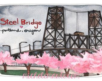 Portland Postcards - Steel Bridge Postcards - Portland Oregon Card - Steel Bridge Card - Portland Stationery - Portland Spring Time