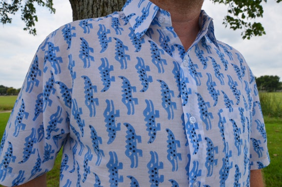 Green Stripe - Men's Handmade Indian Woven Cotton Short Sleeve Button Down Pocket Shirt - Size L or XL - Lucas G739 D5wMIOj