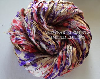 Pure Sari Silk, Grape Berry Confetti, Fair Trade, 6 Yards, OOAK Silk Canvas Series, Textile, Yarn, Ribbon, Silk Ribbon, Artwear Elements 141