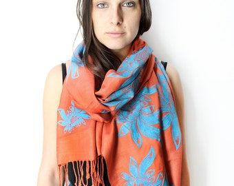 Silk Blend Hand Printed Lotus Flower Scarf Rust Orange/Blue