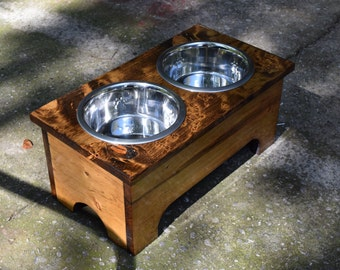 Raised Pet Feeder, Rustic Wood Dog Bowl Stand, Elevated Dog Dish Holder