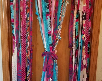 Bohemian Door Curtains Boho Door Curtains Hippie Curtains Aqua Fuchsia Pink Sparkles Curtains Gypsy Curtains