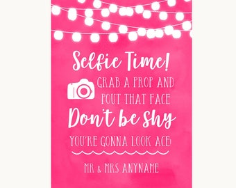 Hot Fuchsia Pink Watercolour Lights Selfie Photo Prop Personalised Wedding Sign