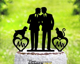 Gay Wedding cake topper with cat + dog, gay silhouette for men, gay cake topper,Gay with cat + dog,dog + cat silhouette cake topper (2038)