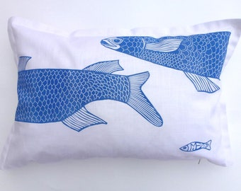 cushion cover, linocut print, fish, blue and white print, pillow cover, decorative pillow, handprinted cushion, sofa cushion, printmaking
