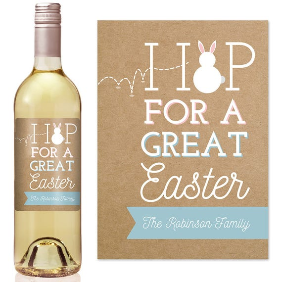Easter wine label personalized easter labels easter labels like this item negle Images