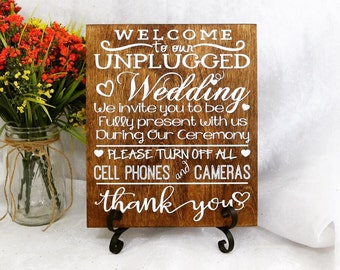 Welcome To Our Unplugged Wedding Sign, Wedding Signs, Unplugged Ceremony Sign, Rustic Wedding Sign, Unplugged Wedding Sign, Fun Wedding Sign