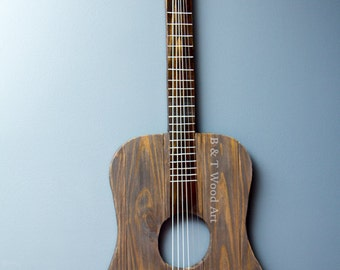 Rustic Wood Guitar Wall Art Music Art Guitar Strings Wood Sign Tennessee  Guitar