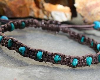 Turquoise Macrame, Macrame Bracelet, Turquoise Stone, Brown Macrame Bracelet, Adjustable Bracelet, Stone Macrame, Metal Free Jewelry