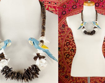 Parrot Bird Necklace Chunky Wood Beaded Necklace Hand Painted Bird Necklace Resort Tropical Necklace