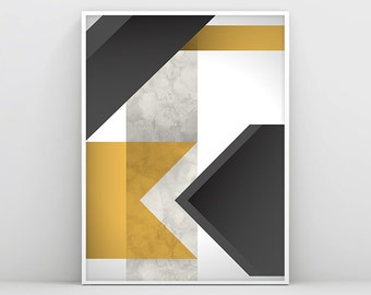Abstract Art Print - White Black Grey Yellow - Digital Download - Abstract Wall Art - Abstract Print - Modern Art - Minimalist Art