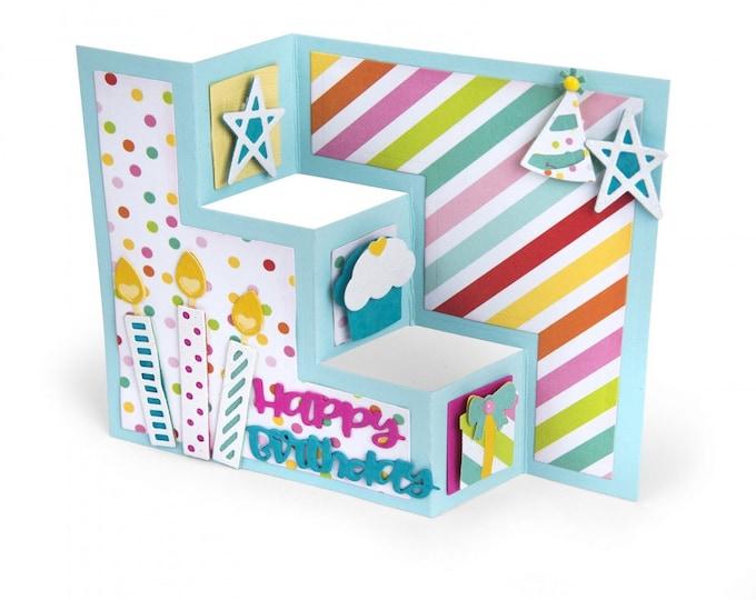 New! Sizzix Thinlits Die Set 13PK - Card, Birthday Shutter by Lori Whitlock 662806