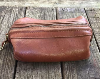Bosca Brown Leather Shaving Kit: Utili-Kit Travel Toiletry Bag
