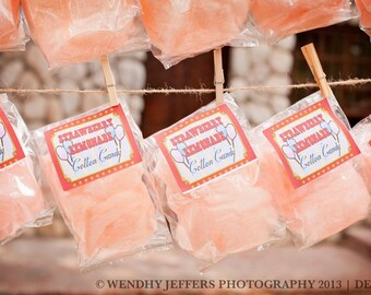 24 Cotton Candy Party Favors with Custom Labels