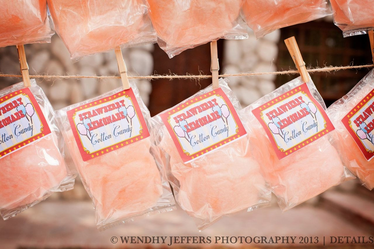 10 Cotton Candy Party Favors with Custom Labels