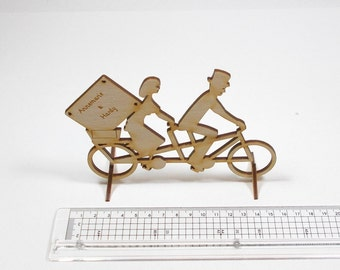 Wood 150 mm for wedding, husband and wife tandem and engraving of bride and groom