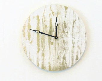 Wall Clock, Gold and White Wall Decor, Eco Friendly Art, Wall Clocks Large