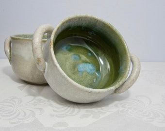 Double Handled Soup Crock, Handmade Pottery, Rustic White and Green, Wheel-thrown Stoneware, Stew Bowl, French Onion Soup, Housewarming Gift