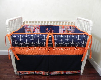 Nautical Baby Bedding Set Lucian - Baby Boy Bedding, Custom Baby Bedding, Anchor Bedding, Navy, and Orange Crib Bedding