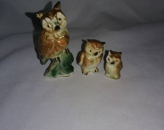 Vintage Bone China Miniature Owl Figurines