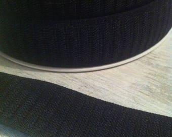 Elastic ribbed grosgrain Ribbon 25 mm black color