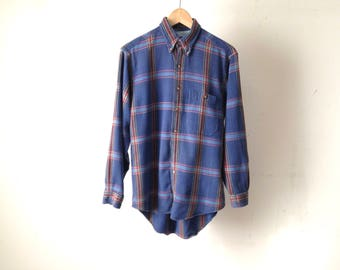 vintage NIRVANA faded plaid SOFT blue and red flannel shirt size small