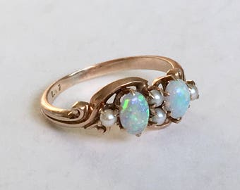 antique Allsopp 10k gold, opal, and pearl ring, size 4.75