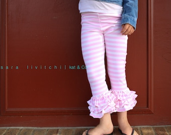 Size 10.  Ready to ship light pink stripe triple ruffle capris size 12 months