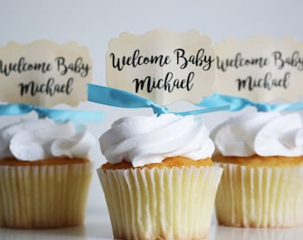 Baby Shower cupcake toppers, Personalized, Welcome Baby, Cupcake toppers