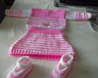 all knit handmade baby 0/3 months-skirt-sweater and booties