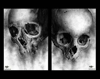 "Prints 5x7"" - Skulls - Dark Art Skeleton Horror Macabre Bones Gothic Spooky Halloween Lowbrow Death Creepy Curio Surreal Monster Skull"