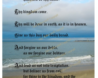 The Lords Prayer ocean landscape collage scripture Matthew 6-9 13 Cape May NJ church sunday school gifts Christmas gift digital download DIY