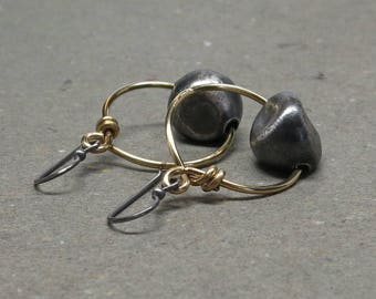 Brass Hoop Earrings Large Sterling Silver Bead Oxidized Tribal Gift for Her