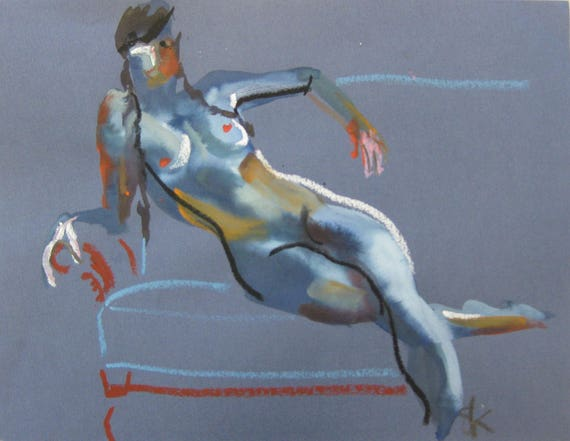 Nude painting- Original watercolor painting of Nude #1421 by Gretchen Kelly
