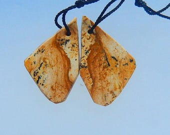 Natural Nugget Picture Jasper Earring Beads,27x16x3mm,3.8g,-E2970
