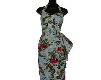 Plus Size Hawaiian Tiki Sarong Dress, Rockabilly, Pin Up, 50s Dress, Vintage, VLV, Retro for Women - Tropical/Floral – Hawaiian Print