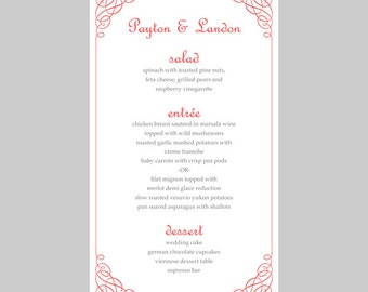 Wedding Menu Card Template – Calligraphy Corners (Deep Coral) - Instant Download - Editable MS Word File