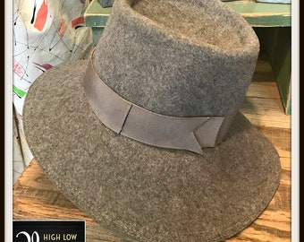 Vintage Gray Wool Fedora Hat Wide Brim with Band TN Lee 1970s Felt