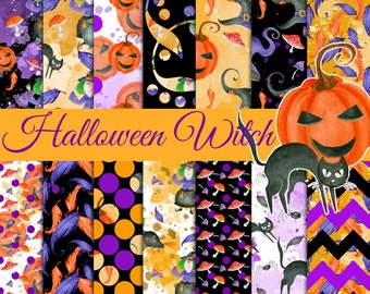 Halloween digital paper, Halloween witch pattern, Witch paper pack, Halloween seamless patterns, Scrapbook papers, Pumpkin, witches hat