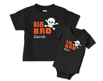 Big brother shirt, little brother shirt, Matching sibling shirts, personalized big bro and lil bro skull shirts,