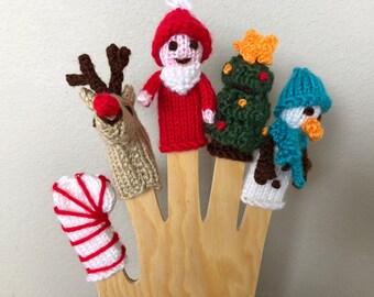Finger Puppet Pattern - Christmas Puppets Pattern - Pattern to Knit Puppets - Puppet Pattern - Digital Download