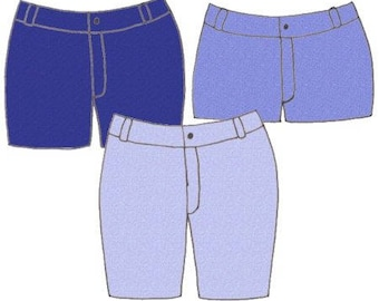 Plus Size Girls Denim Jean Shorts PDF Sewing Pattern, Sizes 14-16