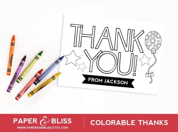 Tarjeta de gracias colorable globos personalizable