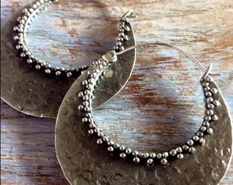 Kali Hoop Earrings, Tribal Hoops, Ethnic Earrings, Boho Earrings, White Brass Earrings, Gypsy Tribal Belly Dance Jewellery